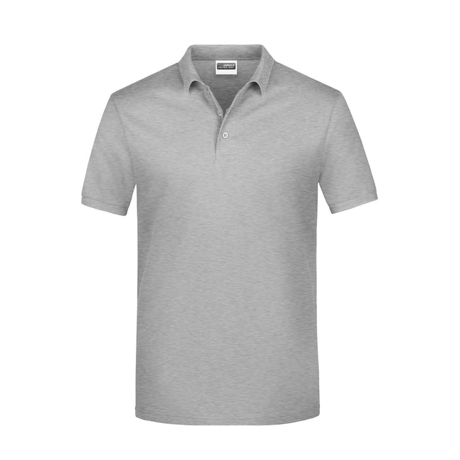 Gray Heather - Front - James And Nicholson Mens Basic Polo Shirt