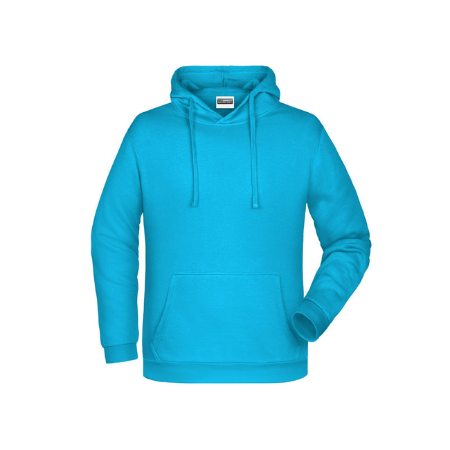 Turquoise - Front - James And Nicholson Mens Basic Hoodie