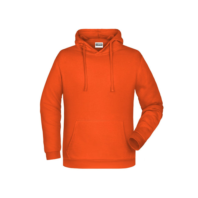 Orange - Front - James And Nicholson Mens Basic Hoodie