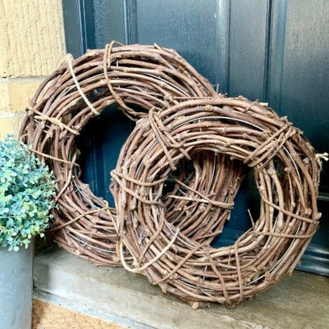Brown - Front - Rustic Wooden Lattice Wreath