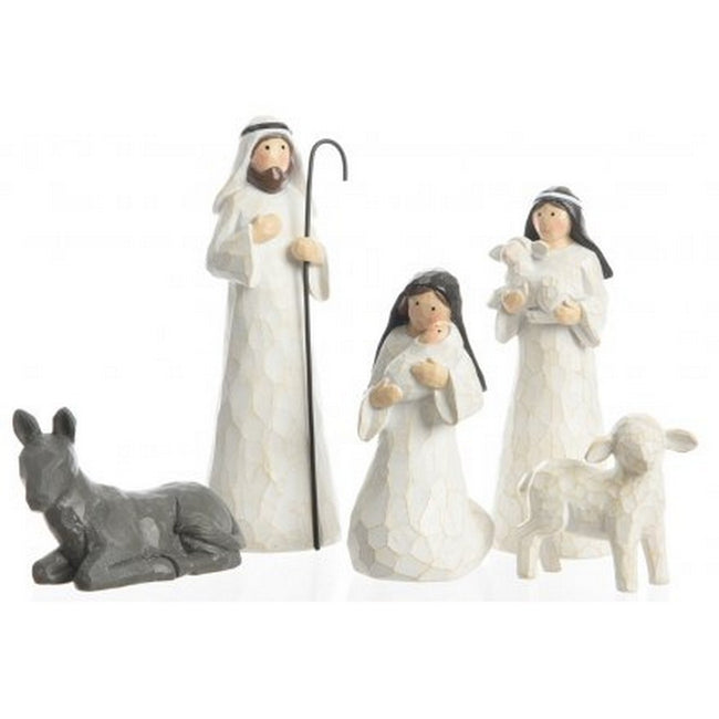 White-Gray - Front - Carved Nativity Scene Characters (5 Piece Set)