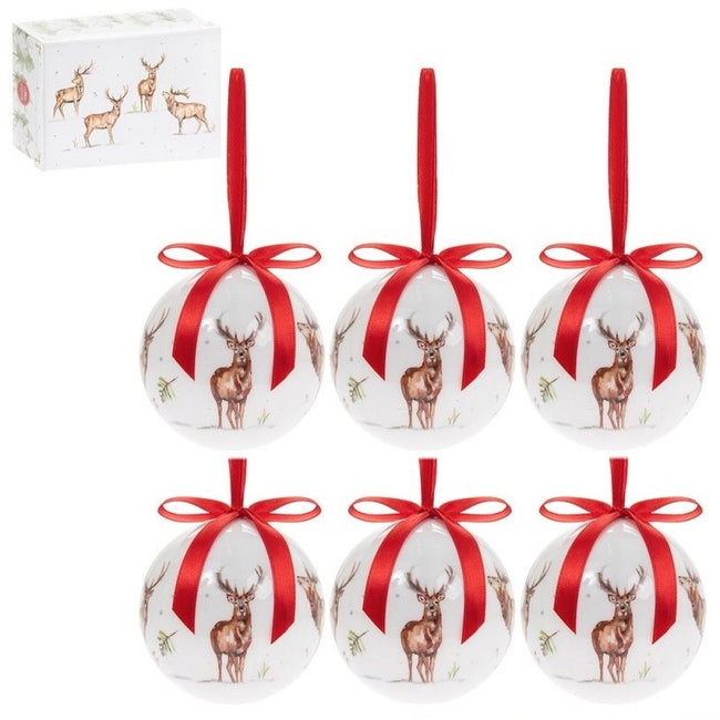 White-Red - Front - Winter Stags Baubles