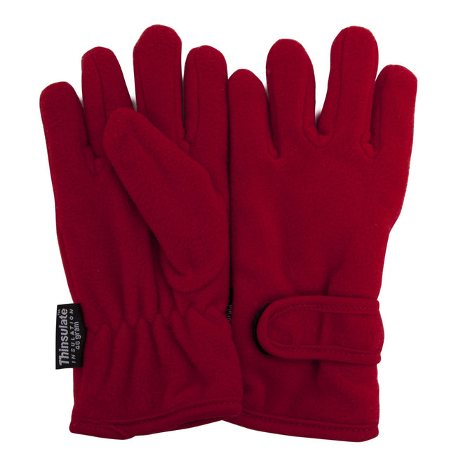 Red - Front - FLOSO Big Girls Childrens-Kids Plain Thermal Fleece Gloves (3M 40g)