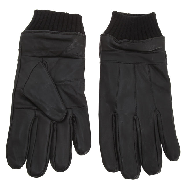 Black - Front - Tom Franks Mens Leather Gloves With Knitted Cuff