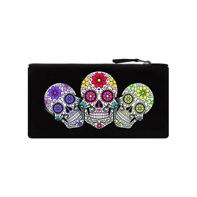 Black - Front - Grindstore Sugar Skull Trio Pencil Case
