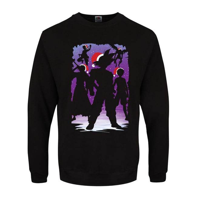 Black - Front - Grindstore Mens Manga Heroes Christmas Sweater