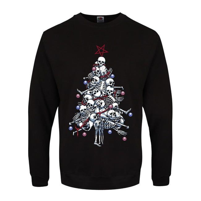 Black - Front - Grindstore Mens Pile O` Bones Christmas Sweater
