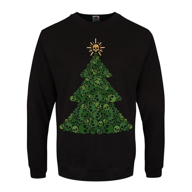 Black - Front - Grindstore Mens Skully Tree Christmas Sweater
