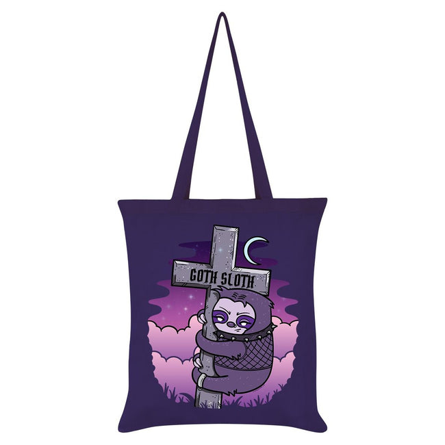 Purple - Front - Grindstore Goth Sloth Tote Bag