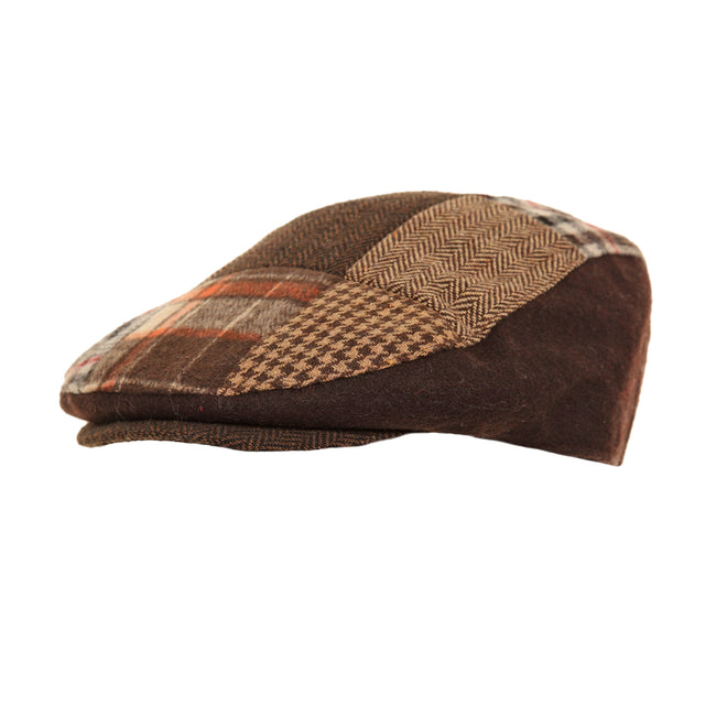 Grey - Front - Mens Patchwork Winter Flat Cap with Wool