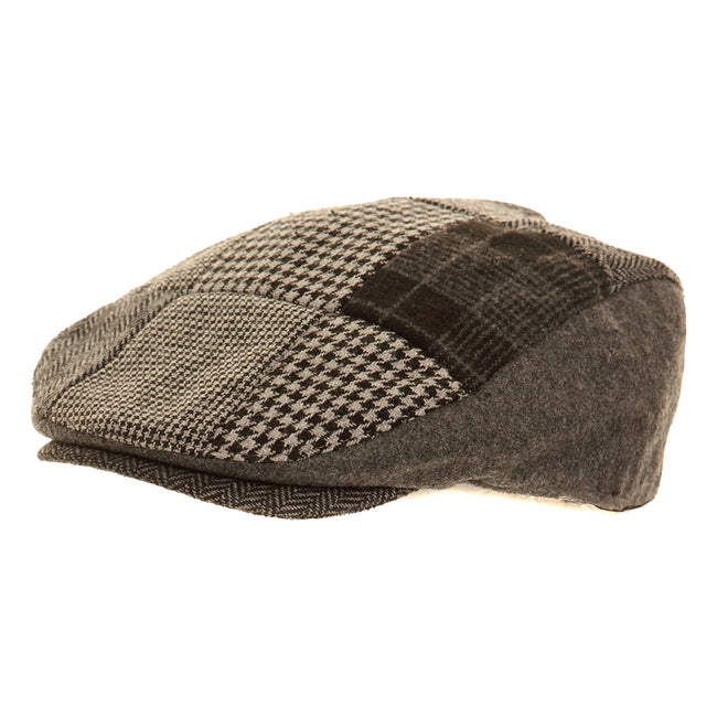 Brown - Front - Mens Patchwork Winter Flat Cap with Wool