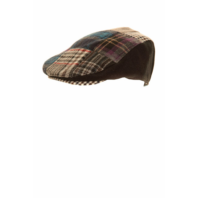 Black - Front - Mens Patchwork Winter Flat Cap with Wool