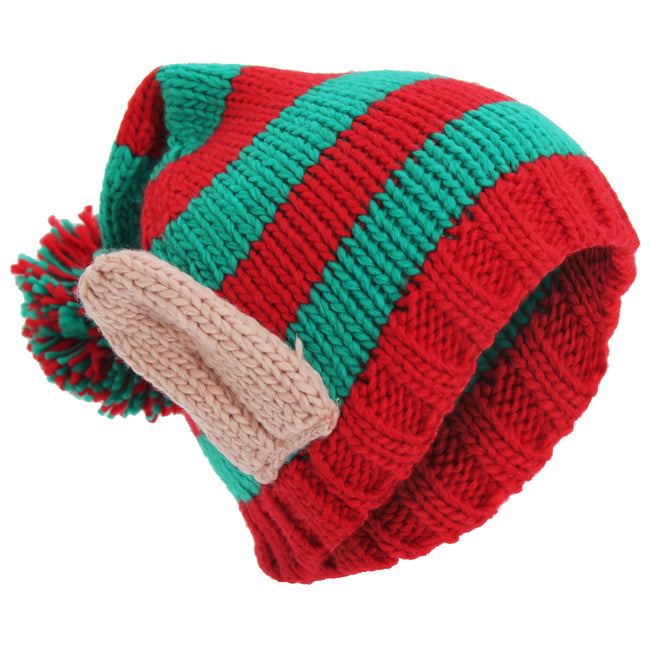 Red-Green - Front - Adults Unisex Knitted Christmas Design Winter Bobble Hat With 3D Ears