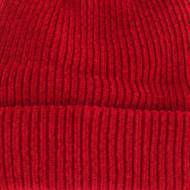 Red - Side - HeatGuard Womens-Ladies Chenille Winter Beanie Hat
