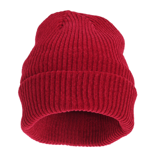Red - Front - HeatGuard Womens-Ladies Chenille Winter Beanie Hat