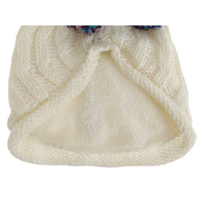 Cream - Back - Hawkins Collection Adults Unisex Hand Knitted Pom Pom Hat