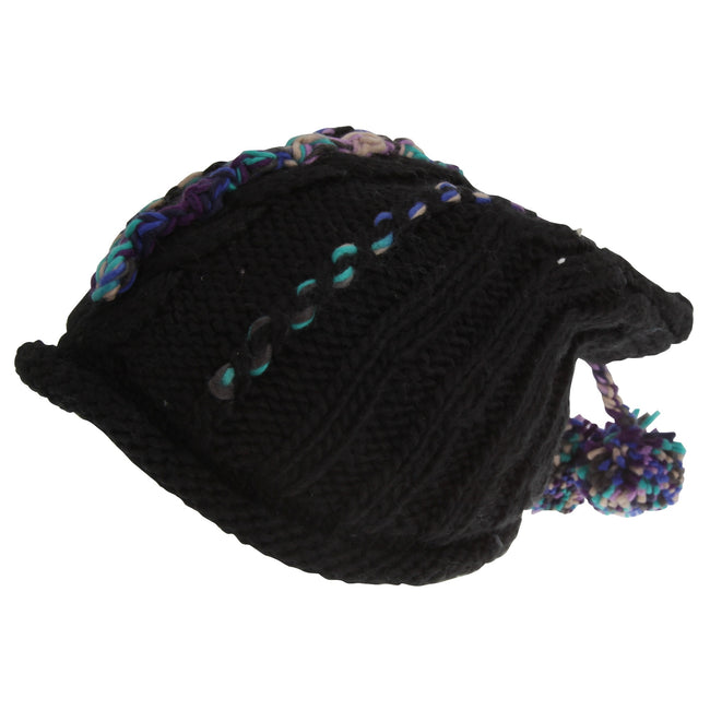 Black - Front - Hawkins Collection Adults Unisex Hand Knitted Pom Pom Hat