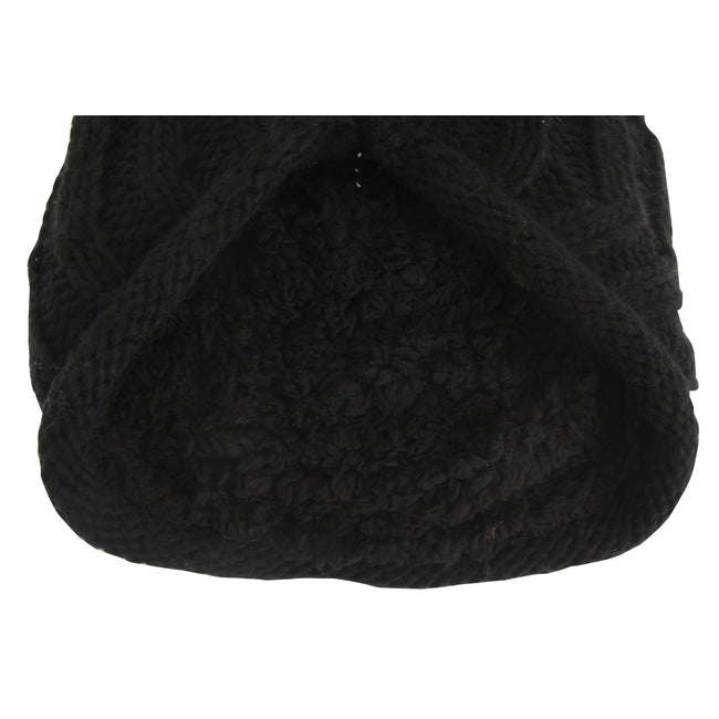 Black - Back - Hawkins Collection Adults Unisex Hand Knitted Pom Pom Hat