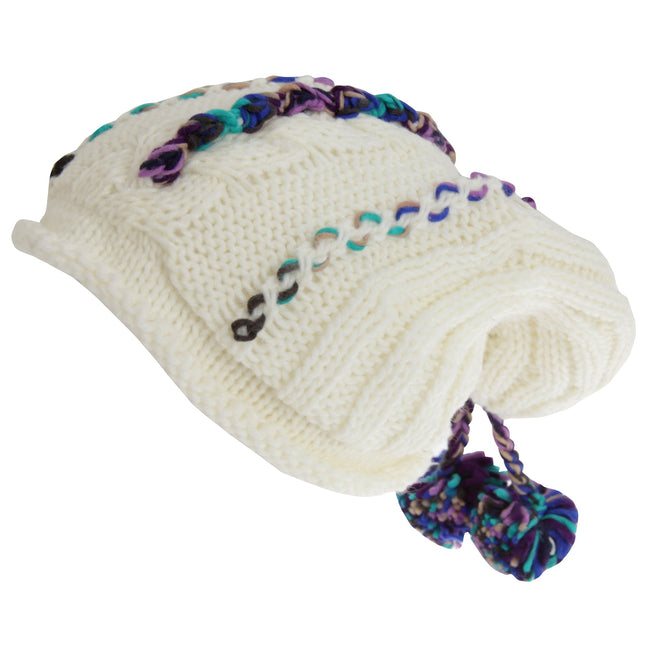 Cream - Front - Hawkins Collection Adults Unisex Hand Knitted Pom Pom Hat