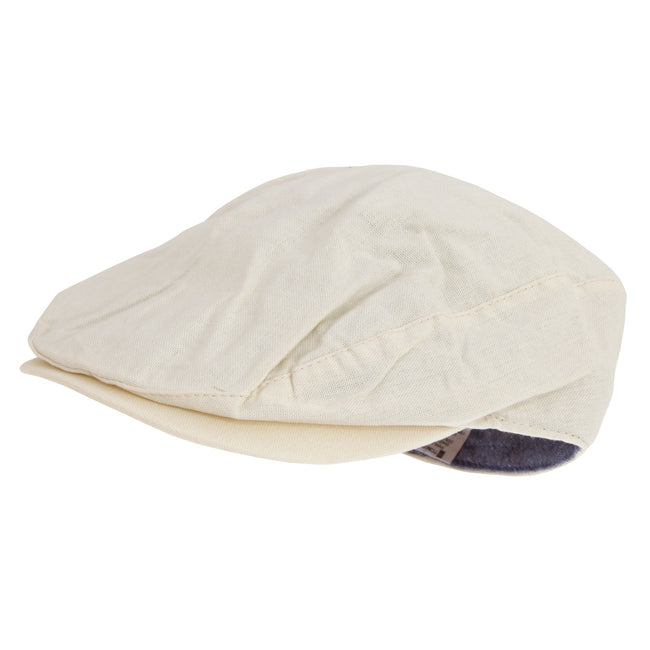 Cream - Front - Tom Franks Mens Linen Flat Cap