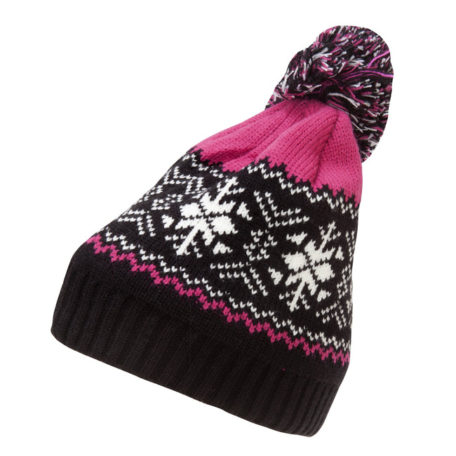 Pink - Front - Rock Jock Womens-Ladies Fairisle Ski Hat