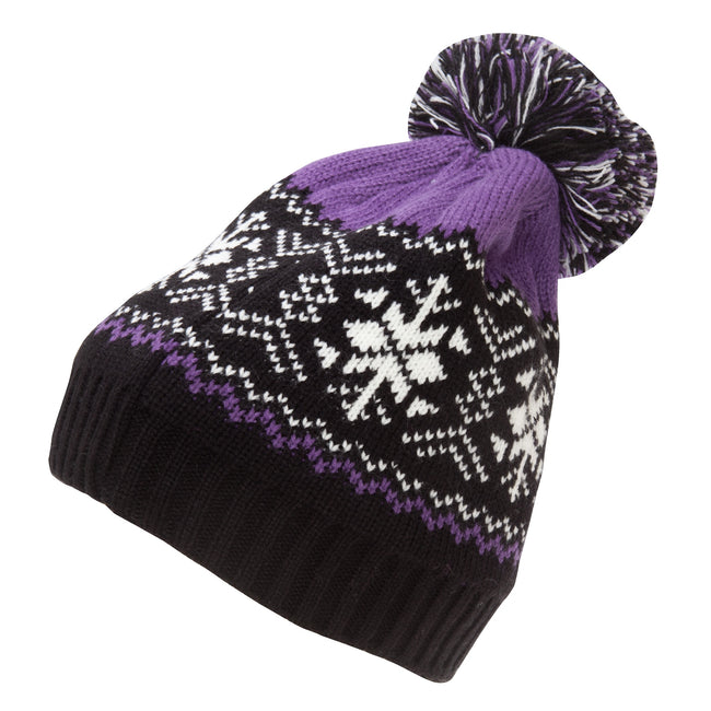Purple - Front - Rock Jock Womens-Ladies Fairisle Ski Hat