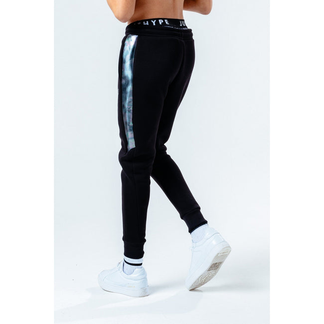 Black - Back - Hype Childrens-Kids Panel Jogging Bottoms