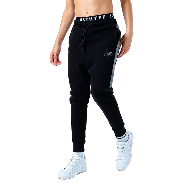 Black - Front - Hype Childrens-Kids Panel Jogging Bottoms