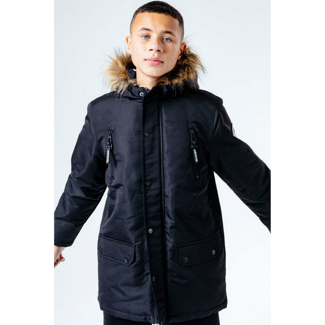 Black - Side - Hype Childrens-Kids Parka Jacket