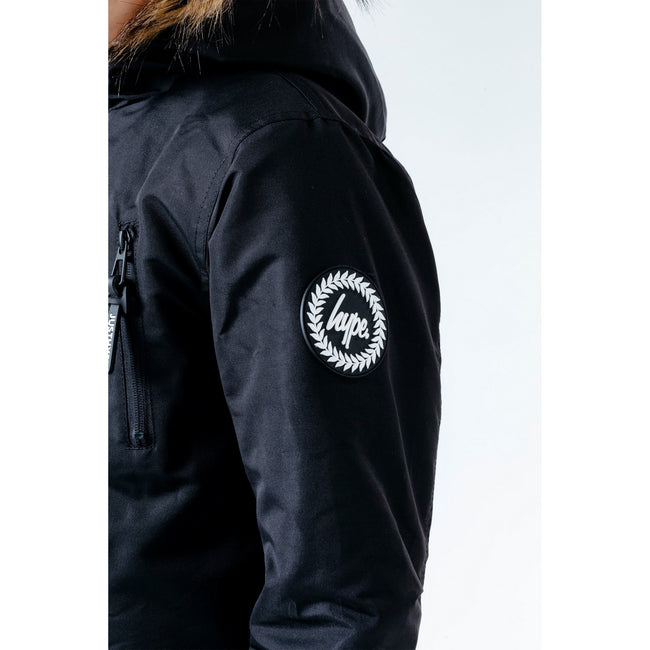 Black - Close up - Hype Childrens-Kids Parka Jacket