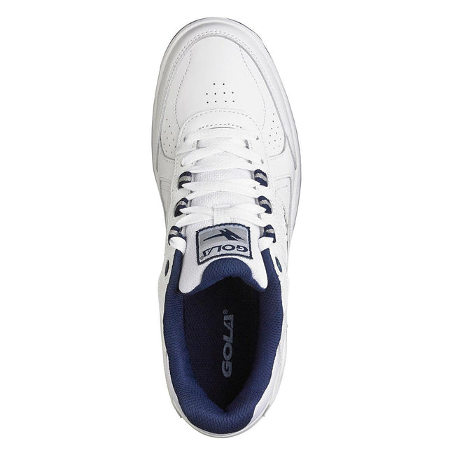 White-Navy - Side - Gola Mens Belmont WF Wide Fit Sneakers-Trainers