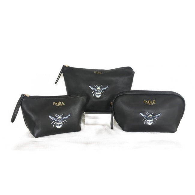 Black - Front - Fable Womens-Ladies Vintage Bee Embroidered Makeup Bags (Set Of 3)