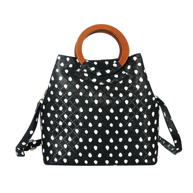 Black - Side - Jewelcity Womens-Ladies Spotty Circular Handle Tote