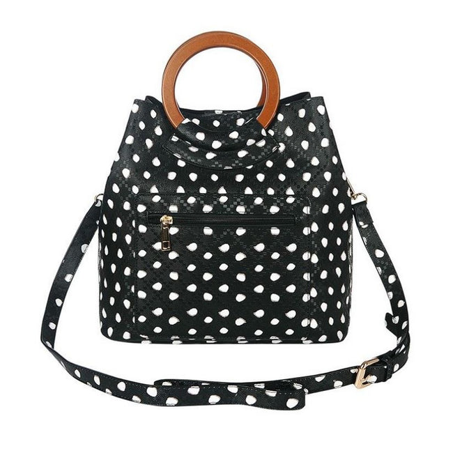 Black - Front - Jewelcity Womens-Ladies Spotty Circular Handle Tote