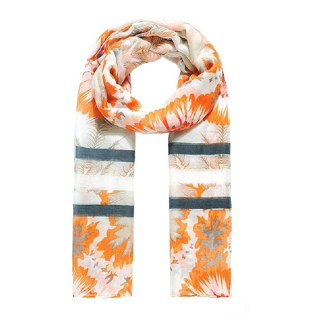 Orange - Front - Jewelcity Womens-ladies Morning Glory Sunflower Print Scarf