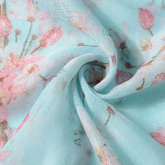 Blue - Back - Jewelcity Womens-Ladies Cherry Blossom Print Scarf