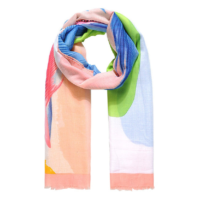 Pink - Front - Jewelcity Womens-Ladies Large Placement Feather Print Scarf