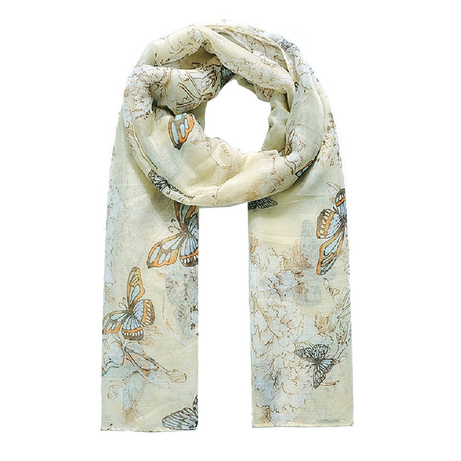 Light Yellow - Front - Jewelcity Womens-Ladies Butterfly And Blossom Print Scarf