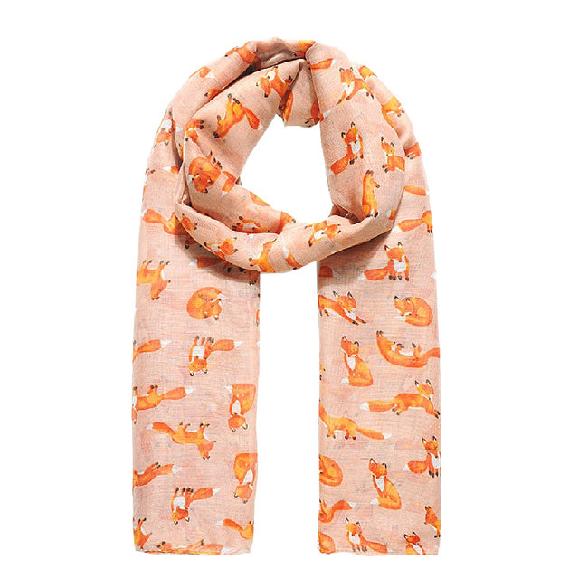Flash Pink - Front - Jewelcity Womens-Ladies Mrs Foxy Print Scarf