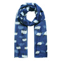 Navy - Front - Jewelcity Womens-Ladies Baa Baa Sheepy Print Scarf