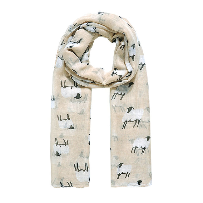 Natural - Front - Jewelcity Womens-Ladies Baa Baa Sheepy Print Scarf