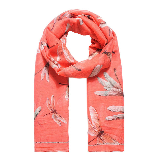 Coral - Front - Jewelcity Womens-Ladies Large Dragonfly Print Scarf