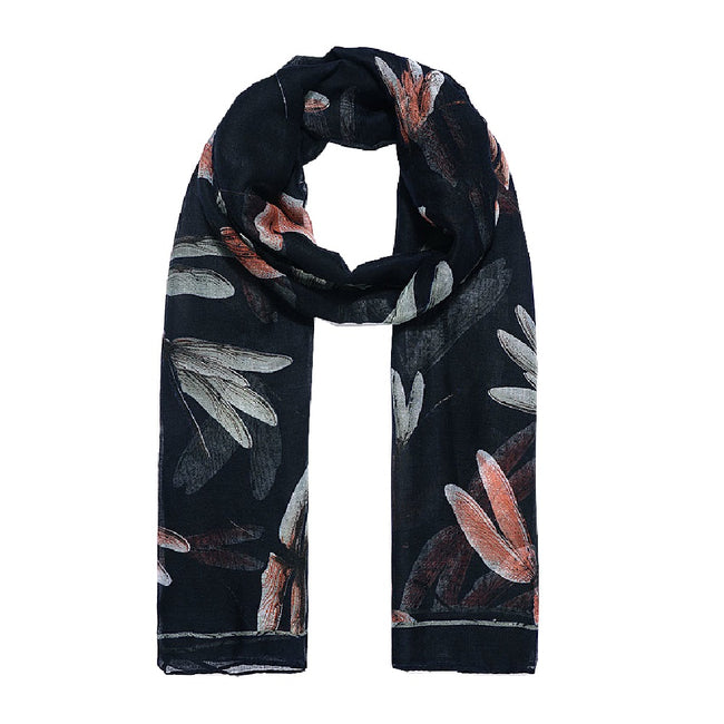 Black - Front - Jewelcity Womens-Ladies Large Dragonfly Print Scarf