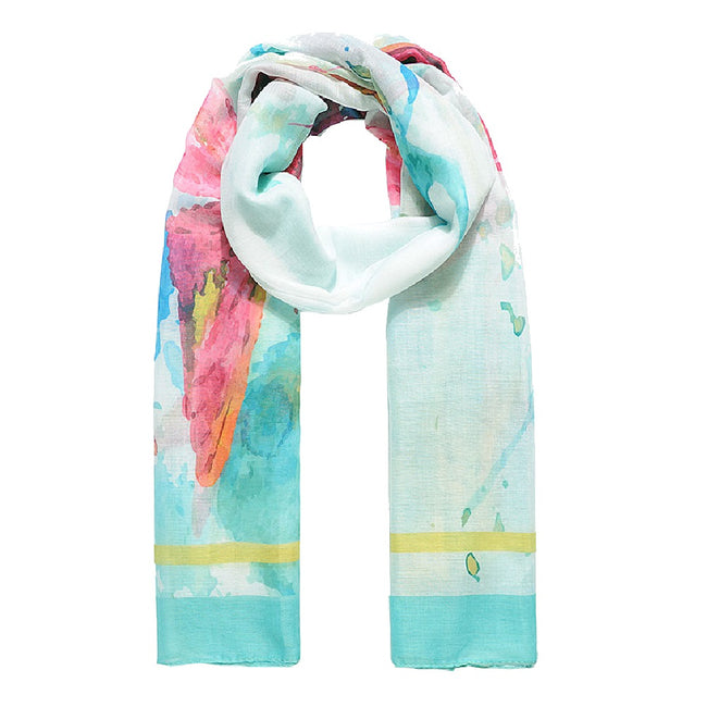 Green - Front - Jewelcity Womens-Ladies Watercolor Butterfly Print Scarf