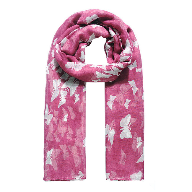 Burgundy - Front - Jewelcity Womens-Ladies Butterfly Print Scarf