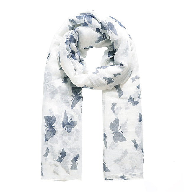 Ivory - Front - Jewelcity Womens-Ladies Butterfly Print Scarf