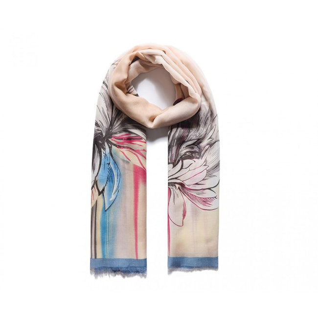 Blue-Peach - Front - Unbranded Womens-Ladies Satin Effect Floral Print Scarf
