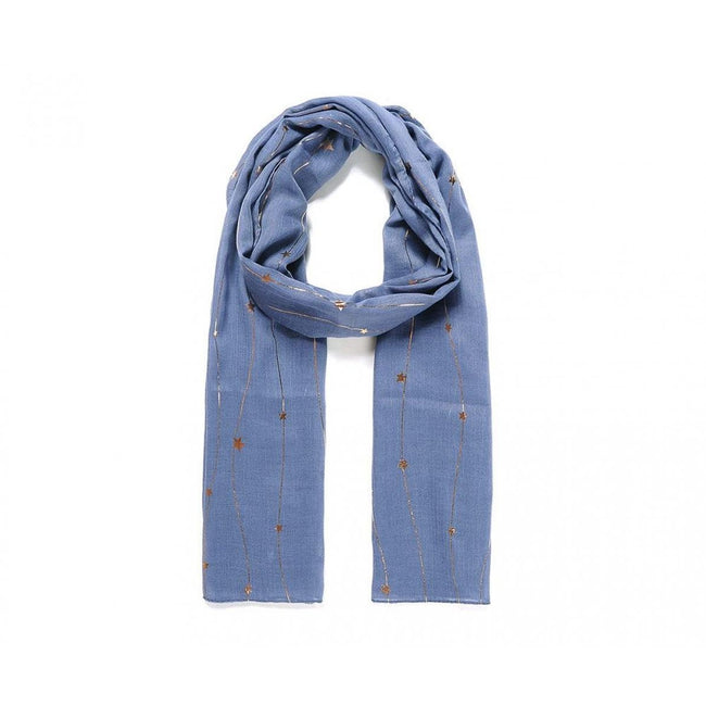 Blue-Gold - Front - Unbranded Womens-Ladies Metallic Connected Star Print Scarf