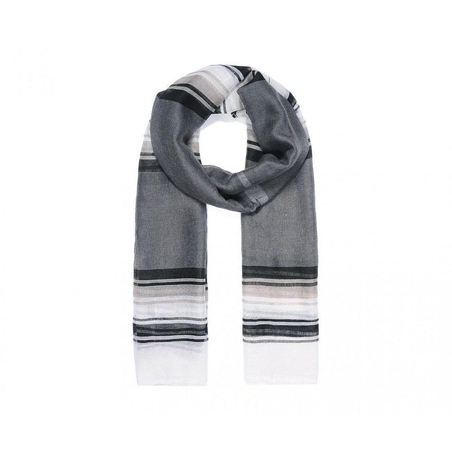 Gray - Front - Unbranded Womens-Ladies Color Block Stripe Print Scarf