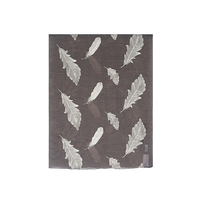 Brown-Gold - Back - Unbranded Womens-Ladies Embroidered Feather Scarf